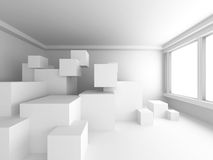 Modern Interior Background. White Empty Room With Many Cubes. 3d Render Illustration Royalty Free Stock Photos