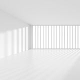 Modern Interior Background. White Empty Room with Window. Futuristic Architecture Design. 3d Illustration Royalty Free Stock Photo