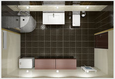 Modern interior of bathroom. 3D render modern interior of bathroom Royalty Free Stock Photos