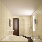 Modern interior of bathroom. 3D render modern interior of bathroom Stock Image