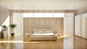Modern interior of a bedroom royalty free illustration