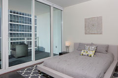 Modern interior bedroom with balcony Stock Photo