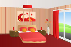 Modern interior bedroom beige red bed pillows lamps window illustration Stock Image