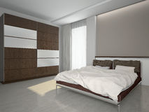 Modern interior of a bedroom 3d rendering royalty free illustration