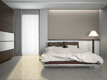 Modern interior of a bedroom 3d rendering Royalty Free Stock Photos