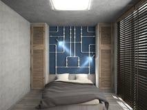 Modern interior of a bedroom 3d rendering vector illustration