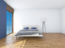 Modern interior of a bedroom 3d rendering Stock Photos