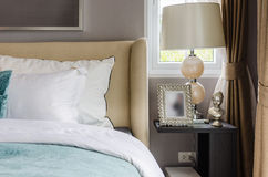 Modern interior bedroom with lamp and frame. At home Stock Photos