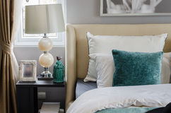 Modern interior bedroom with lamp. At home Royalty Free Stock Photo