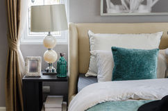 Modern interior bedroom with lamp. At home Stock Photography