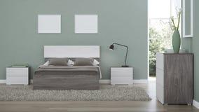 Modern Interior Of A Bedroom With Light Green Walls Stock Illustration Illustration Of Sofa Bright 176039392