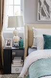 Modern interior bedroom with table and lamp. At home Royalty Free Stock Photo