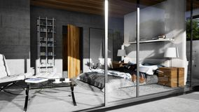 Modern interior of bedroom in villa. 3D visualization - modern design of interior, bedroom with visible concrete walls in white villa. Clean design and royalty free illustration