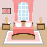 Modern interior of a bedroom with window. stock illustration