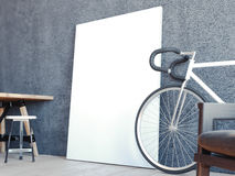 Modern interior with bicycle and white frame. 3d rendering Royalty Free Stock Images