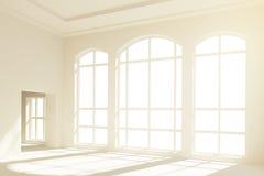 Modern interior with big light windows in floor Stock Image
