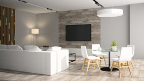 Modern interior with black sofa. 3D rendering Royalty Free Stock Photos