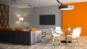 Modern interior with black sofa and orange wall. 3D rendering Stock Photo
