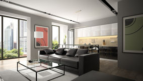 Modern interior with black sofa and parquet floor Stock Photography