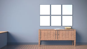 Modern interior with blank poster frame on dark grey wall / 3d render image. 6 Blank poster frame interior wall with wood cabinet and property Stock Photo