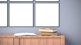 Modern interior with blank poster frame on dark grey wall / 3d render image. Blank poster frame interior wall with wood cabinet and property Royalty Free Stock Photos