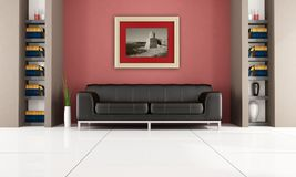 Modern interior with bookshelf. Brown leather sofa in a living room with bookshelf and gold picture frame - rendering Royalty Free Stock Photos