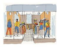 Modern interior boutique, shopping center, mall with clothes. Contour sketch illustration. Stock Photography