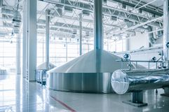 Modern interior of a brewery mash vats metal containers Stock Photography