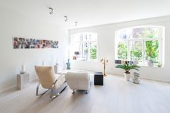 Modern interior of a bright living and relax room royalty free stock photos