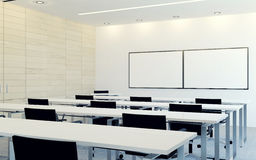 Modern interior of business conference room with blank monitor screen for presentation Royalty Free Stock Photography
