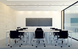 Modern interior of business conference room with blank monitor screen for presentation Stock Photography