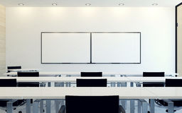 Modern interior of business conference room with blank monitor screen for presentation Royalty Free Stock Image