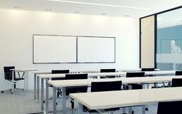Modern interior of business conference room with blank monitor screen for presentation Stock Image