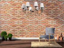 Modern interior with chair on brick wall background. 3d Royalty Free Stock Photo