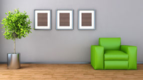 Modern interior with chair and plant. 3D Illustration Stock Image