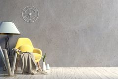 Modern interior with chair. Wall mock up. 3d illustration royalty free illustration