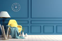 Modern interior with chair. Wall mock up. 3d illustration vector illustration