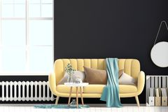 Modern interior with coffee table and sofa. Wall mock up. 3d ill. Ustration Royalty Free Stock Photo