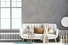 Modern interior with coffee table and sofa. Wall mock up. 3d ill. Ustration Royalty Free Stock Photography