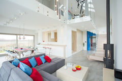 Modern interior with color elements. View of modern interior with color elements royalty free stock photo