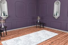 Modern Ä°nterior with colorful wall and carpet, for your furniture, bed, empty space royalty free stock photography