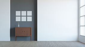 Modern interior composition of blank frame / 3d render image. Composition of modern interior with blank frame on drak wall and wood floor Royalty Free Stock Images