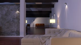 Modern interior. Contemporary architecture space animation with sofa stock video footage