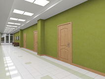 Modern interior corridor with doors Stock Photography