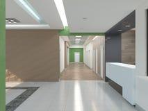 Public interior 3D render. Modern interior corridor. Laconic design Stock Images