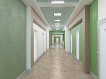Public interior 3D render. Modern interior corridor. Laconic design Royalty Free Stock Photo