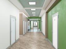 Public interior 3D render. Modern interior corridor. Laconic design Stock Photos