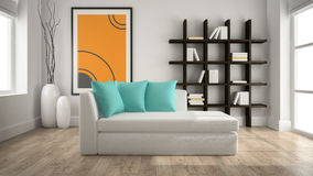 Modern interior with couch Stock Photos