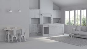 Modern interior of a country house. Repairs. Gray interior. 3D rendering Stock Photography