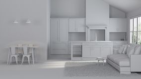 Modern interior of a country house. Repairs. Gray interior. 3D rendering Royalty Free Stock Image